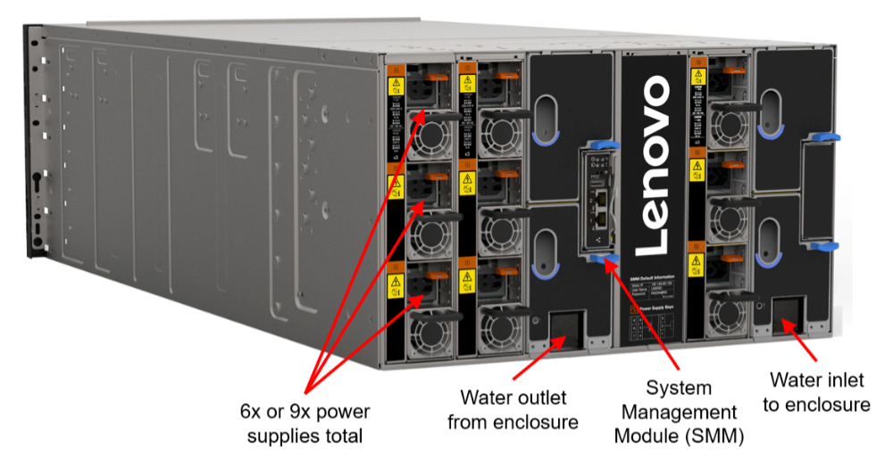 Lenovo ThinkSystem SD650-N V2 rear with water connections